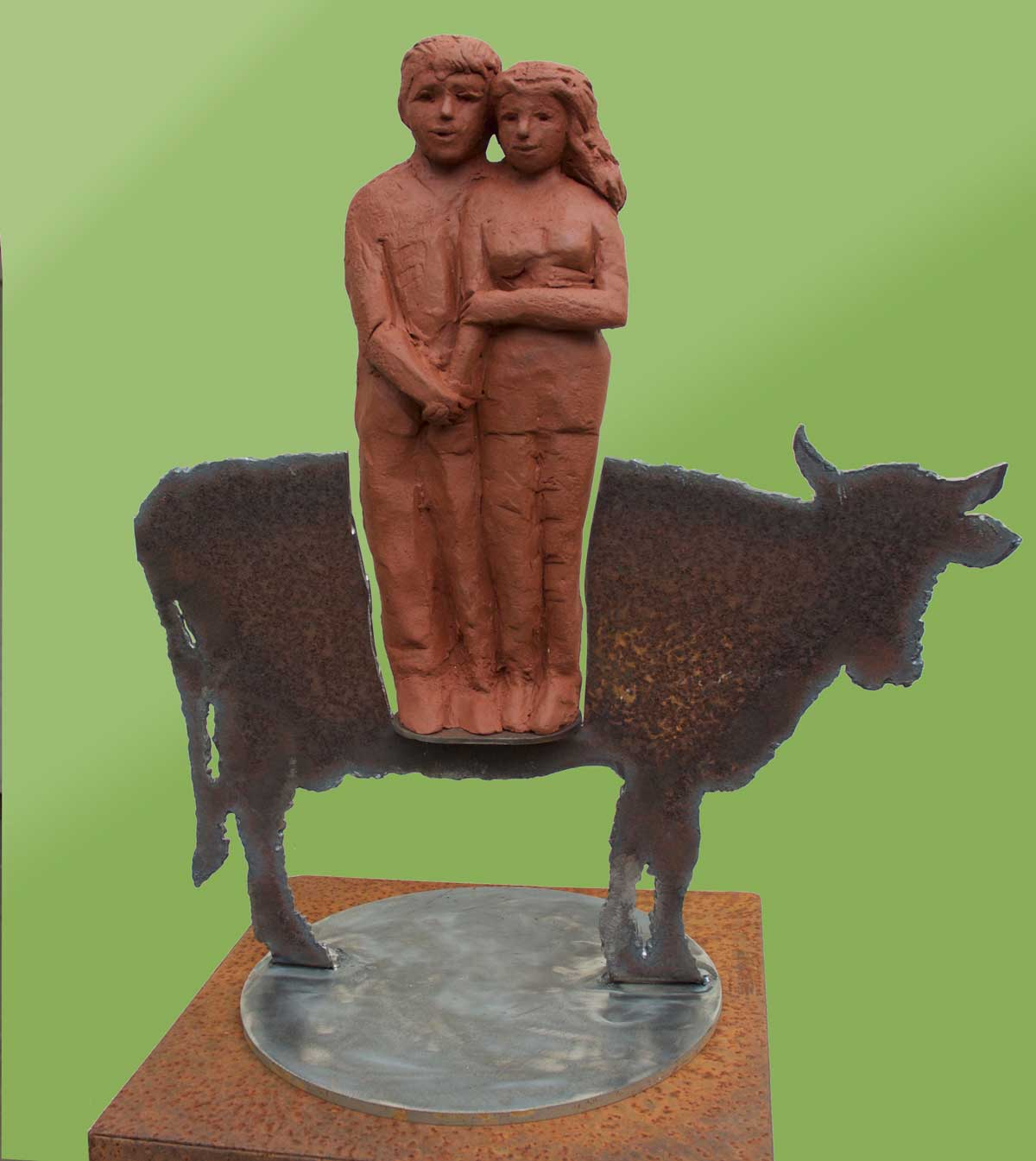 echtpaar-met-koe terracotta staal