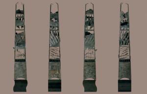 vier aanzichten van een vierkante opengewerkte zuil met reliëfafbeeldingen van het inpolderingsproces van de zuiderzee