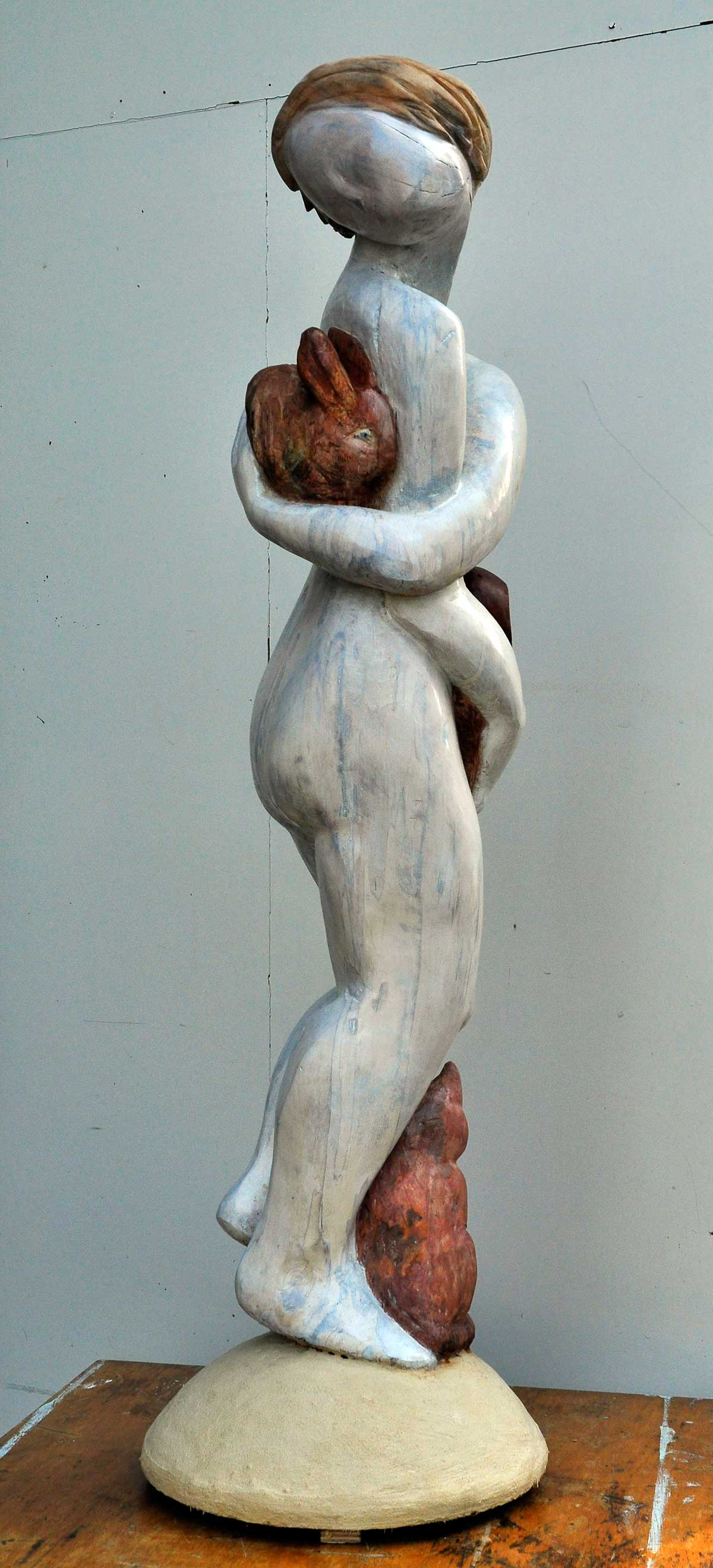 Together, carved in wood by Frans van der Ven
