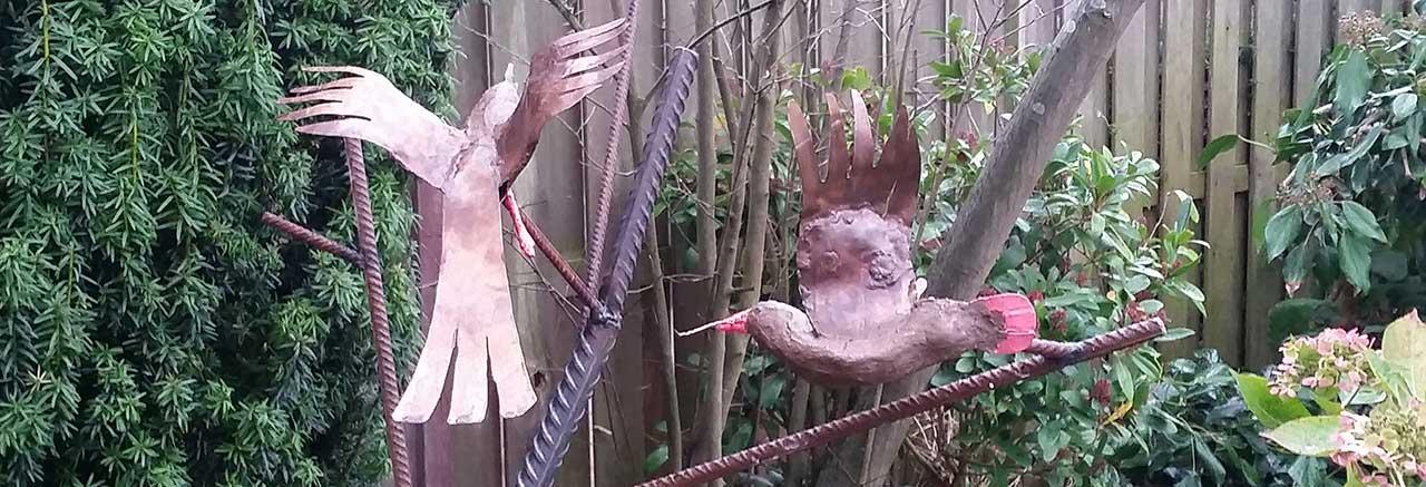 Twee Vogels Tuinbeeld