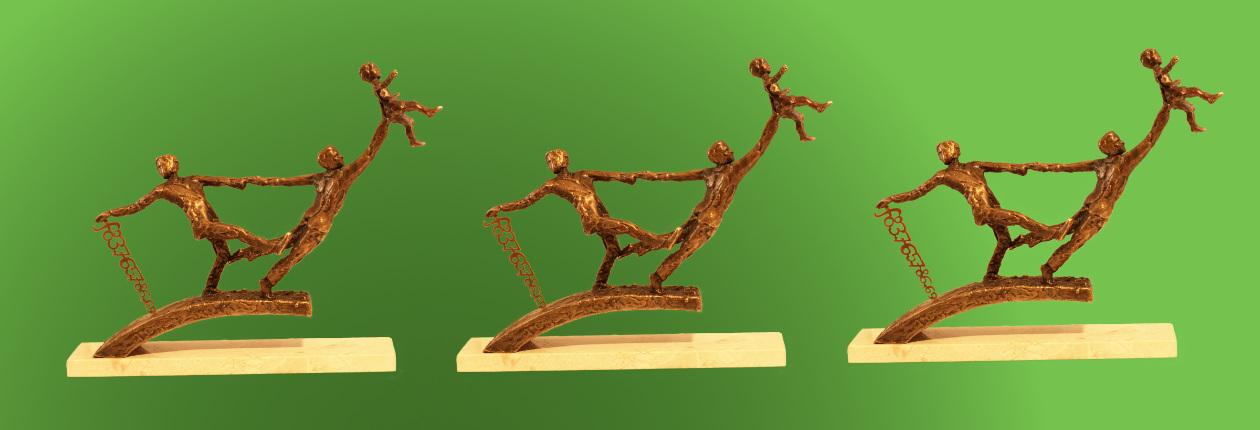 Monument Gijs en Wally, bedankt!- replica in brons
